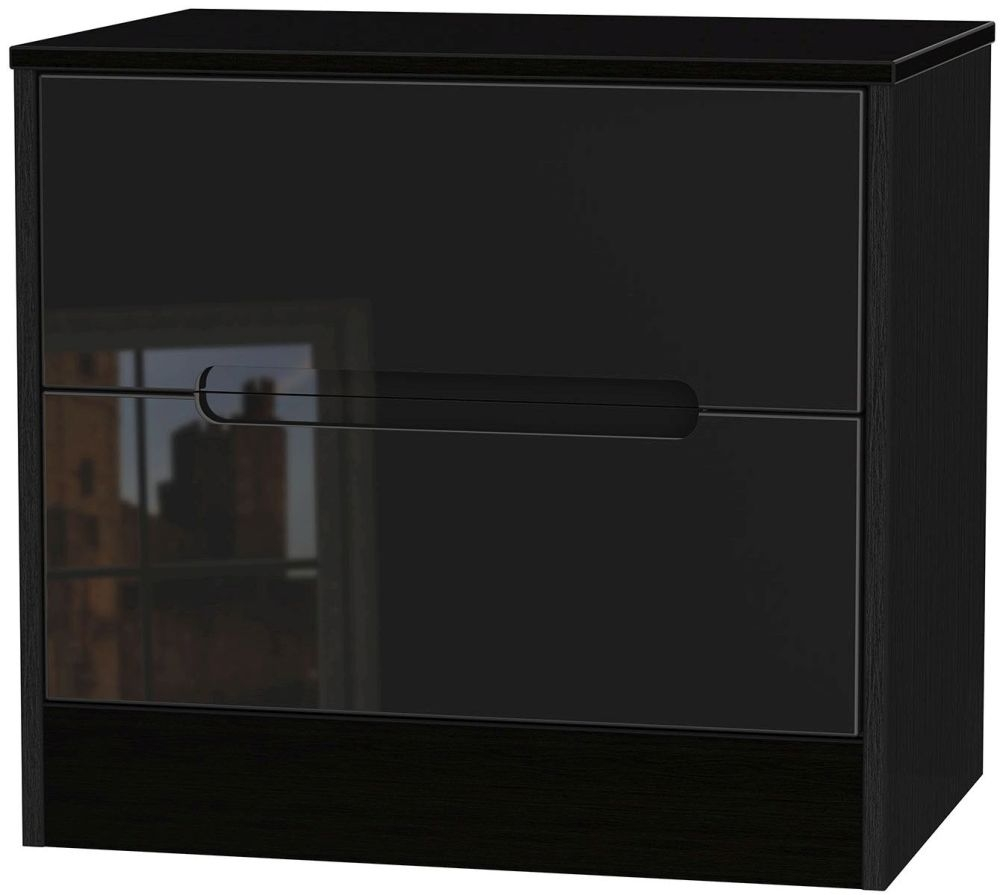 Monaco High Gloss Black Chest of Drawer - 2 Drawer Midi