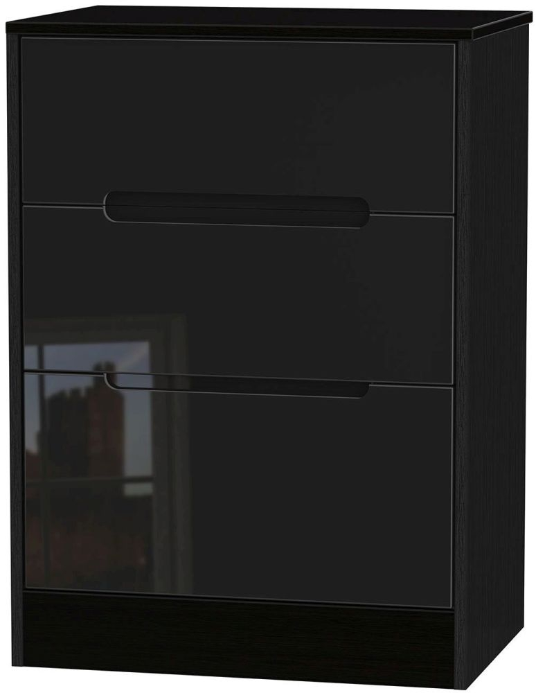 Monaco High Gloss Black Chest of Drawer - 3 Drawer Deep Midi