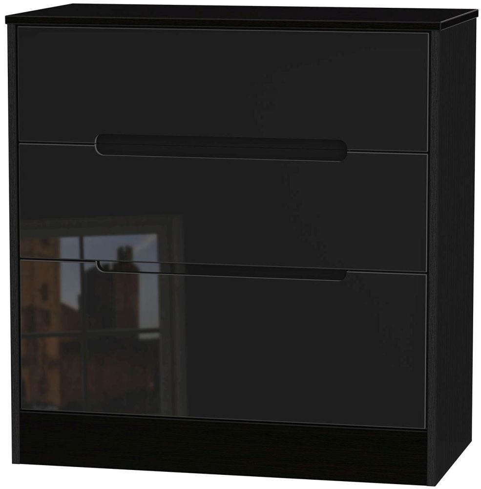 Monaco High Gloss Black Chest of Drawer - 3 Drawer Deep