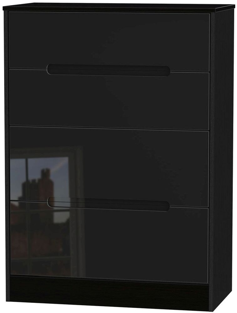 Monaco High Gloss Black 4 Drawer Deep Chest