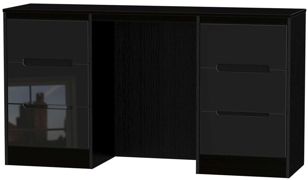 Buy Monaco High Gloss Black Dressing Table Knee Hole Double - Black gloss dressing table