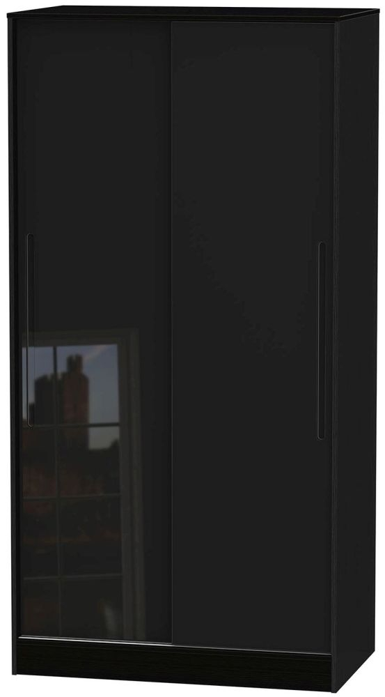 Monaco High Gloss Black 2 Door Wide Sliding Wardrobe