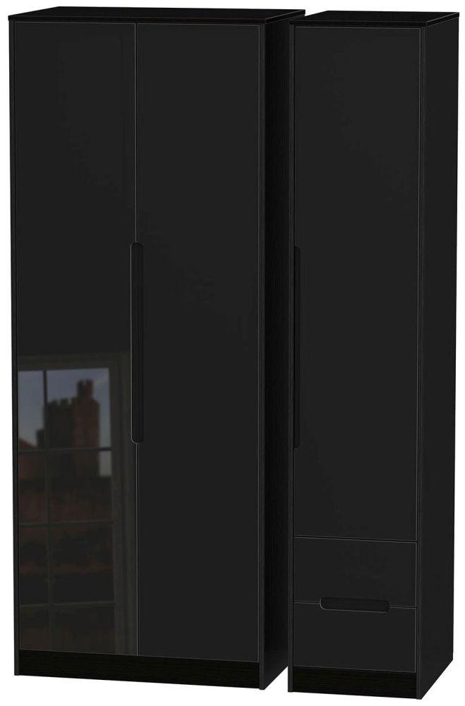 Monaco High Gloss Black Triple Wardrobe - Tall Plain with 2 Drawer