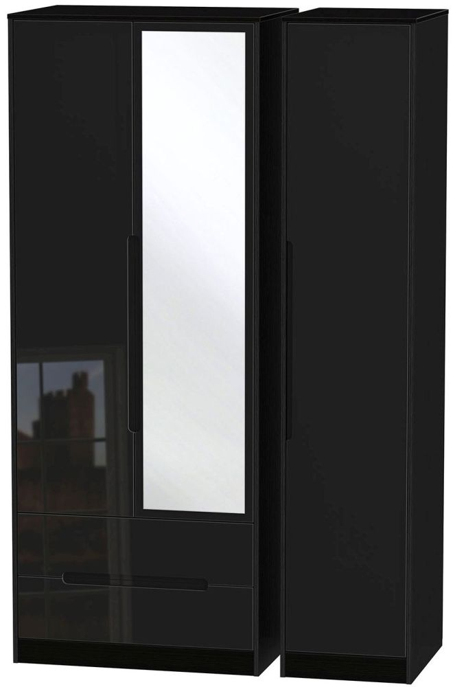 Monaco High Gloss Black Triple Wardrobe - Tall with 2 Drawer and Mirror