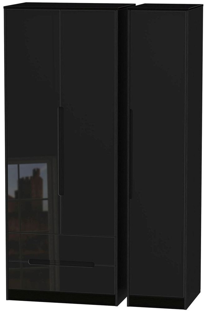 Monaco High Gloss Black 3 Door 2 Drawer Tall Triple Wardrobe