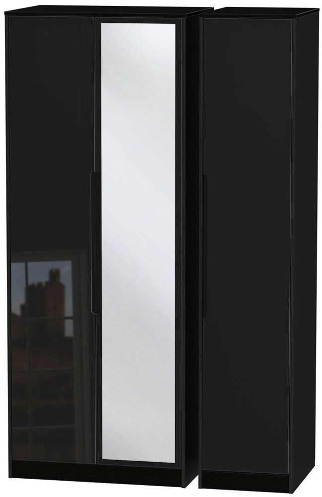 Monaco High Gloss Black Triple Wardrobe - Tall with Mirror