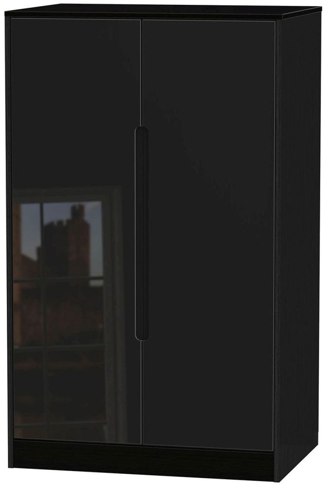 Monaco High Gloss Black 2 Door Midi Wardrobe