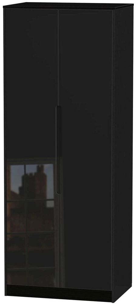 Monaco High Gloss Black 2 Door Tall Plain Double Wardrobe