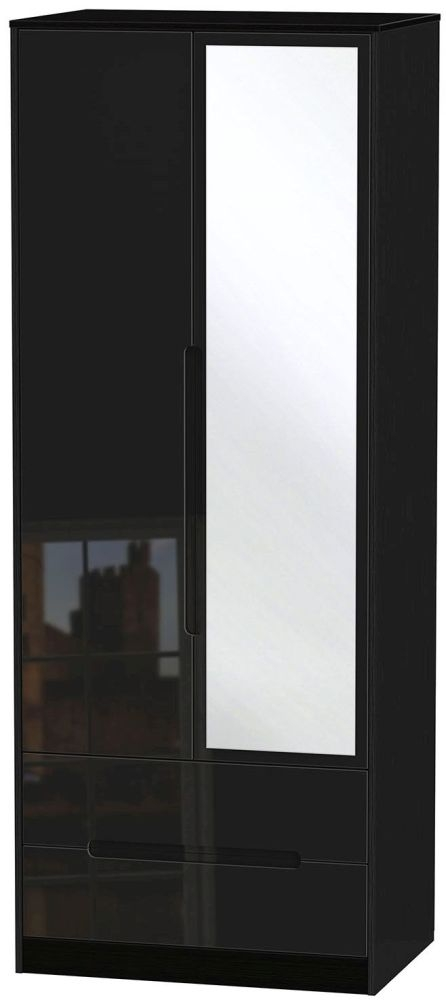 Monaco High Gloss Black Wardrobe - Tall 2ft 6in with 2 Drawer and Mirror