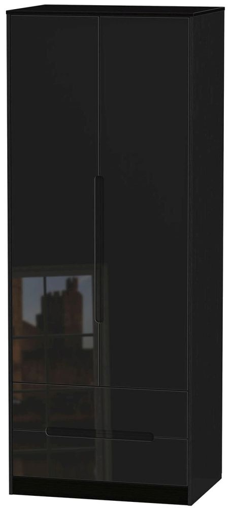 Monaco High Gloss Black Wardrobe - Tall 2ft 6in with 2 Drawer