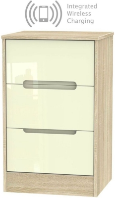 Monaco 3 Drawer Bedside Cabinet with Integrated Wireless Charging - High Gloss Cream and Bardolino