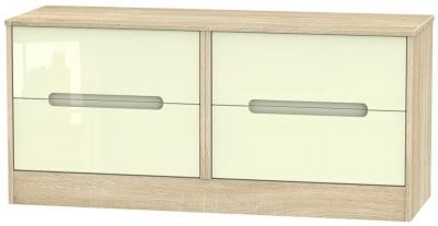 Monaco High Gloss Cream and Bordolino Bed Box - 4 Drawer