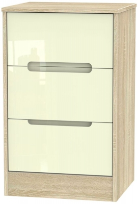 Monaco High Gloss Cream and Bordolino Bedside Cabinet - 3 Drawer Locker