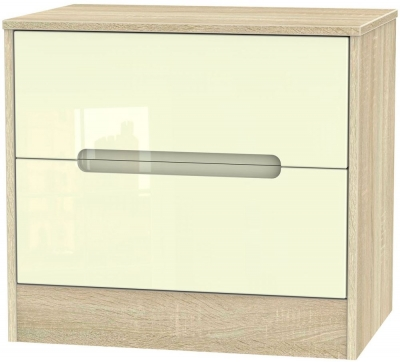 Monaco High Gloss Cream and Bordolino Chest of Drawer - 2 Drawer Midi