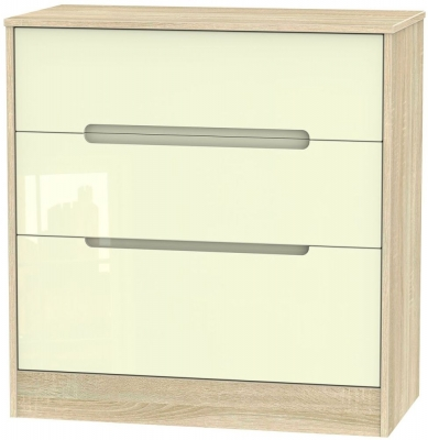 Monaco High Gloss Cream and Bordolino Chest of Drawer - 3 Drawer Deep