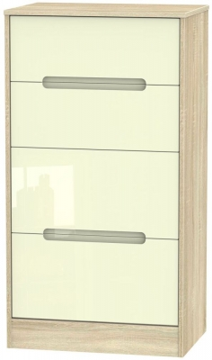 Monaco High Gloss Cream and Bordolino Chest of Drawer - 4 Drawer Deep Midi
