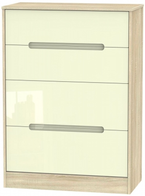 Monaco High Gloss Cream and Bordolino Chest of Drawer - 4 Drawer Deep