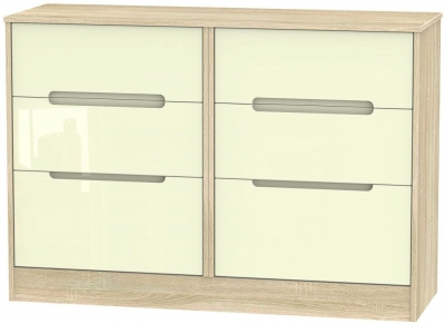 Monaco 6 Drawer Midi Chest - High Gloss Cream and Bardolino