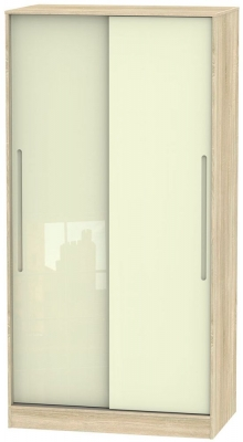 Monaco 2 Door Sliding Wardrobe - High Gloss Cream and Bardolino