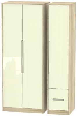 Monaco 3 Door 2 Right Drawer Tall Wardrobe - High Gloss Cream and Bardolino
