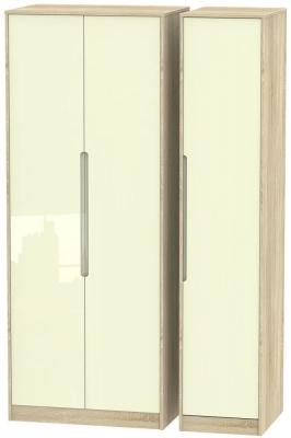 Monaco 3 Door Tall Wardrobe - High Gloss Cream and Bardolino