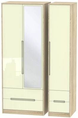 Monaco High Gloss Cream and Bordolino Triple Wardrobe - Tall with Drawer and Mirror