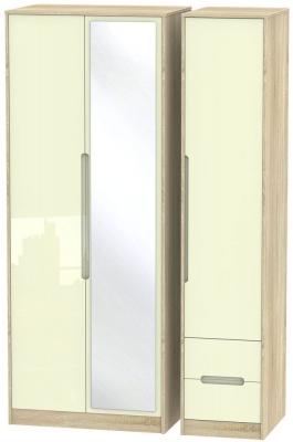 Monaco High Gloss Cream and Bordolino Triple Wardrobe - Tall with Mirror and 2 Drawer