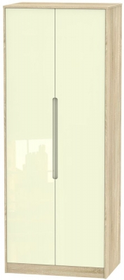 Monaco High Gloss Cream and Bordolino Wardrobe - Tall 2ft 6in Plain