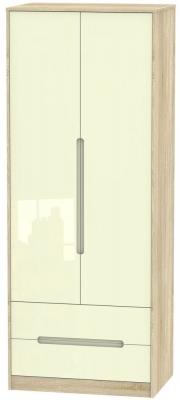 Monaco 2 Door 2 Drawer Tall Wardrobe - High Gloss Cream and Bardolino