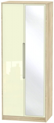 Monaco High Gloss Cream and Bordolino Wardrobe - Tall 2ft 6in with Mirror