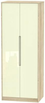 Monaco 2 Door Tall Hanging Wardrobe - High Gloss Cream and Bardolino