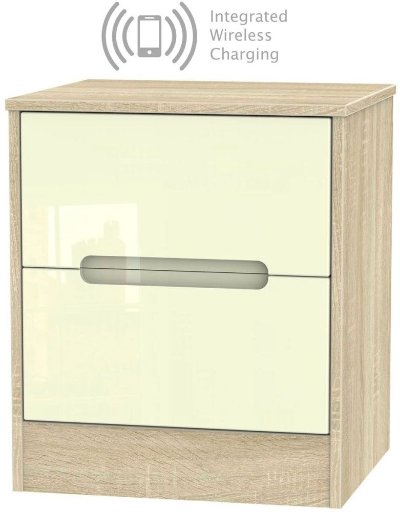 Monaco 2 Drawer Bedside Cabinet with Integrated Wireless Charging - High Gloss Cream and Bardolino