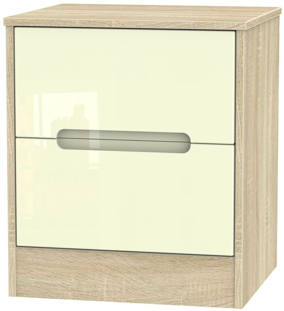 Monaco High Gloss Cream and Bordolino Bedside Cabinet - 2 Drawer Locker