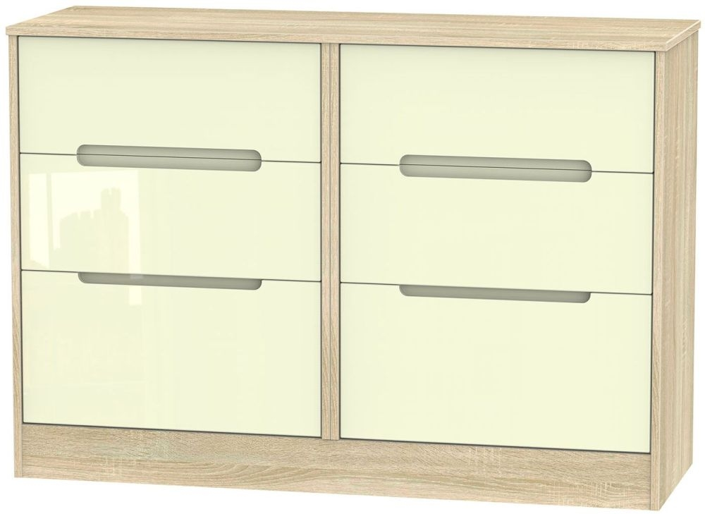 Monaco High Gloss Cream and Bordolino Chest of Drawer - 6 Drawer Midi
