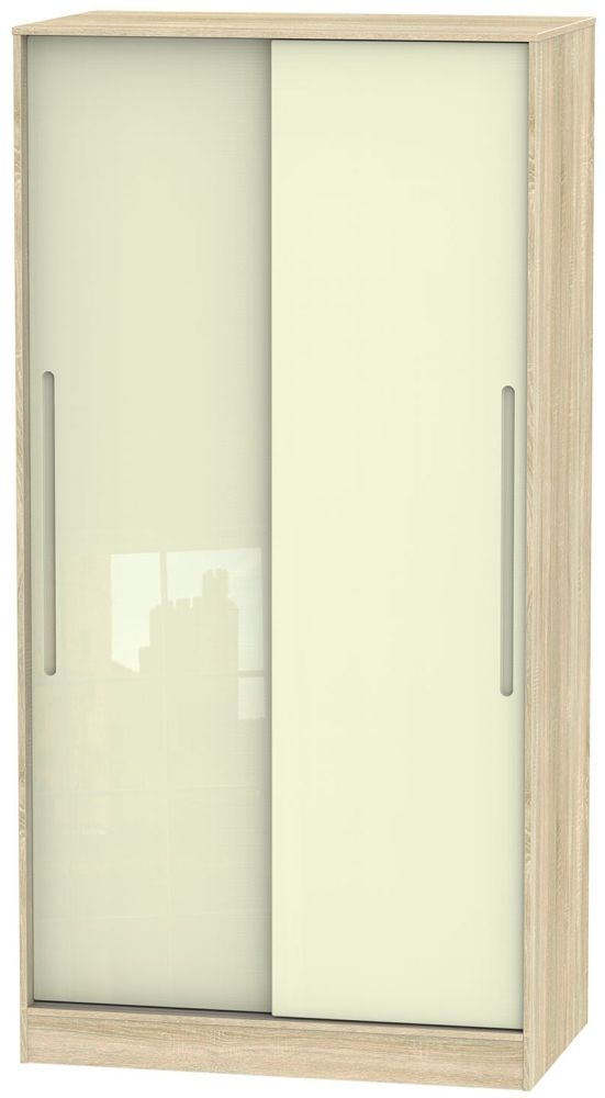 Monaco High Gloss Cream and Bardolino 2 Door Wide Sliding Wardrobe