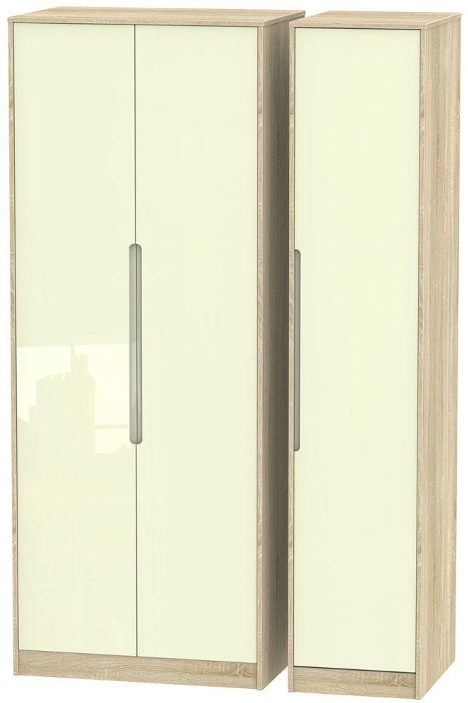 Monaco High Gloss Cream and Bordolino Triple Wardrobe - Tall Plain