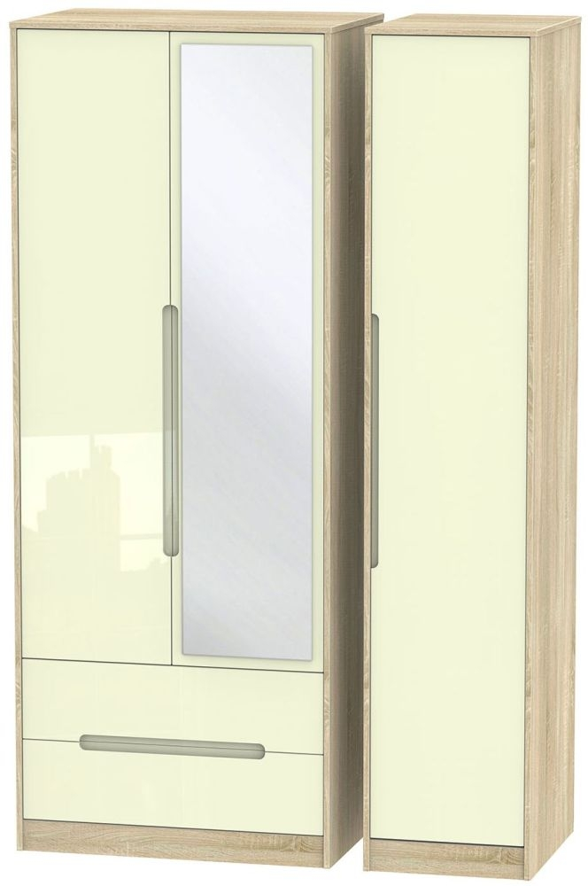 Monaco High Gloss Cream and Bordolino Triple Wardrobe - Tall with 2 Drawer and Mirror