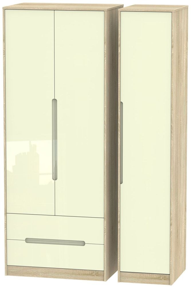 Monaco High Gloss Cream and Bordolino Triple Wardrobe - Tall with 2 Drawer