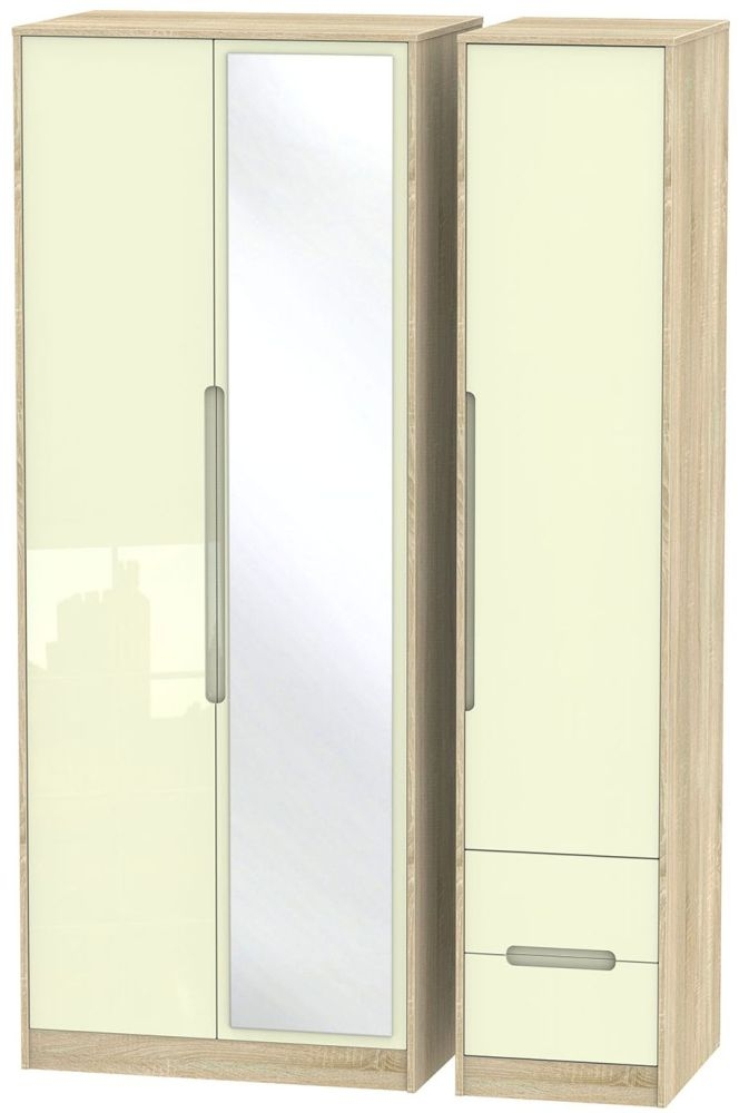 Monaco High Gloss Cream and Bordolino Triple Wardrobe - Tall with Mirror and 2 Drawer