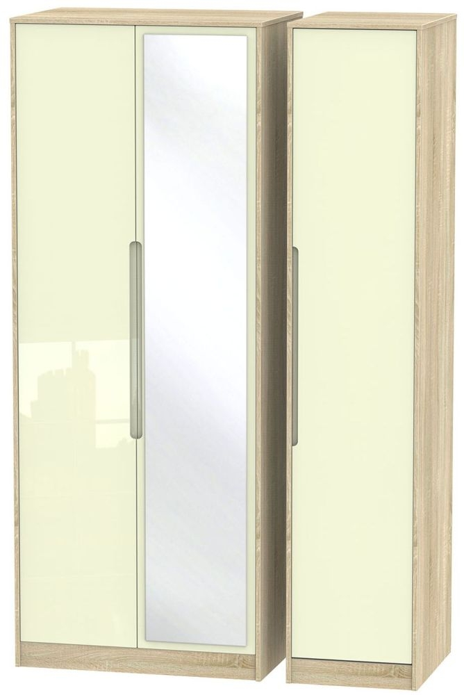 Monaco High Gloss Cream and Bordolino Triple Wardrobe - Tall with Mirror