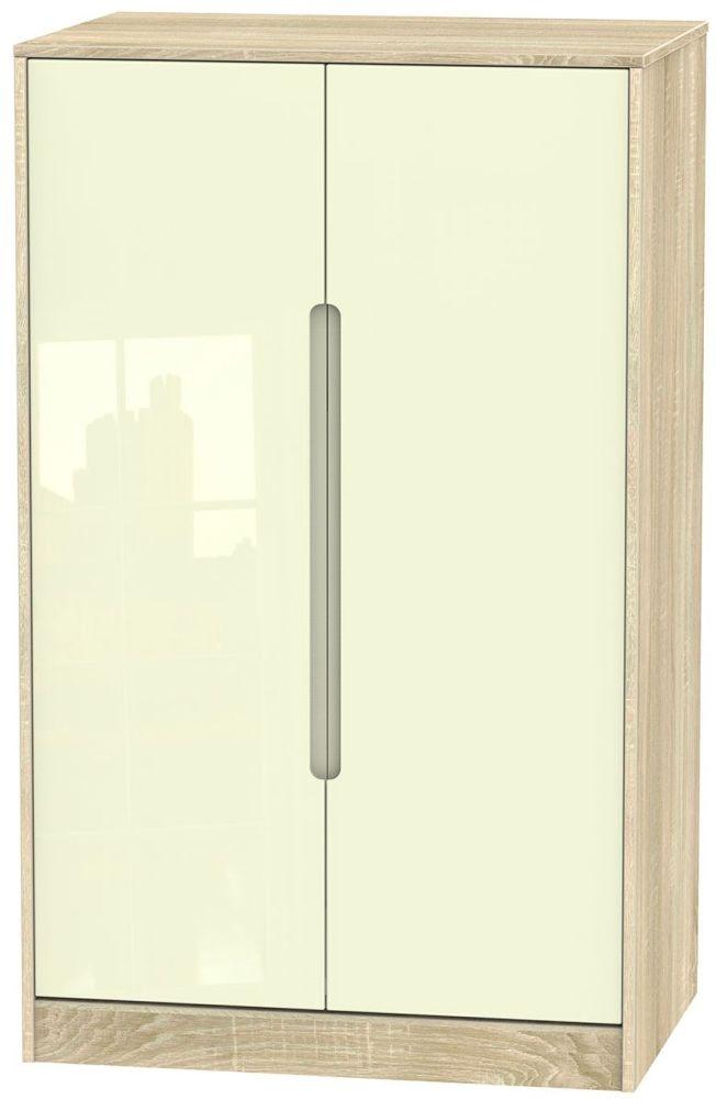 Monaco High Gloss Cream and Bordolino Wardrobe - 2ft 6in Plain Midi