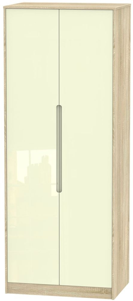 Monaco 2 Door Tall Double Wardrobe - High Gloss Cream and Bardolino