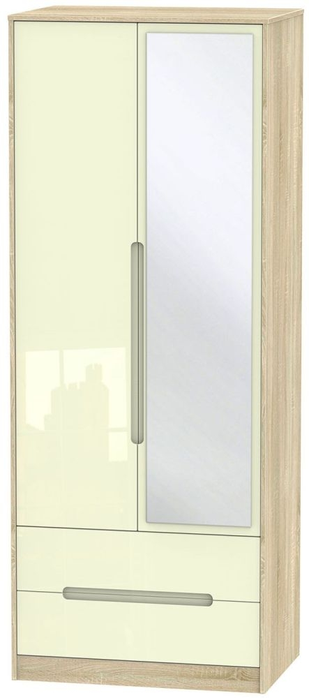 Monaco High Gloss Cream and Bordolino Wardrobe - Tall 2ft 6in with 2 Drawer and Mirror
