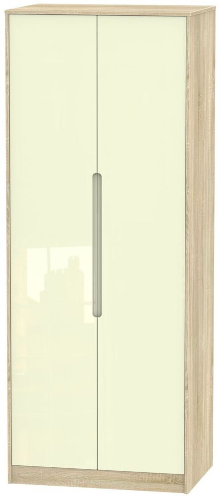 Monaco High Gloss Cream and Bordolino Wradrobe - Tall 2ft 6in with Double Hanging