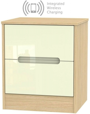 Monaco 2 Drawer Bedside Cabinet with Integrated Wireless Charging - High Gloss Cream and Light Oak