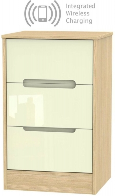 Monaco 3 Drawer Bedside Cabinet with Integrated Wireless Charging - High Gloss Cream and Light Oak
