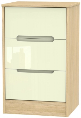 Monaco High Gloss Cream and Light Oak Bedside Cabinet - 3 Drawer Locker