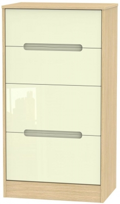 Monaco High Gloss Cream and Light Oak Chest of Drawer - 4 Drawer Deep Midi