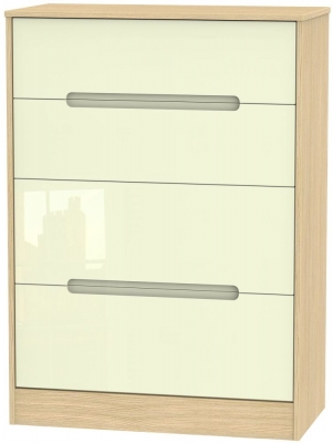 Monaco High Gloss Cream and Light Oak Chest of Drawer - 4 Drawer Deep