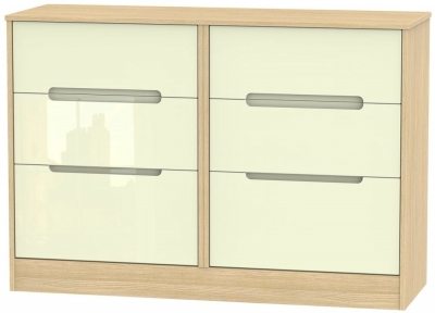 Monaco High Gloss Cream and Light Oak Chest of Drawer - 6 Drawer Midi